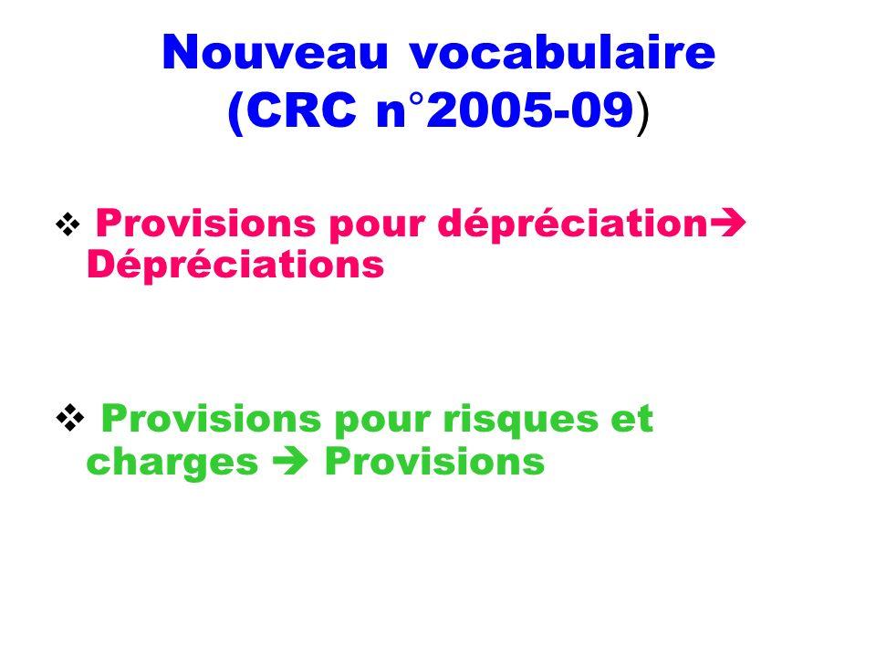 Nouveau vocabulaire (CRC n°2005-09)