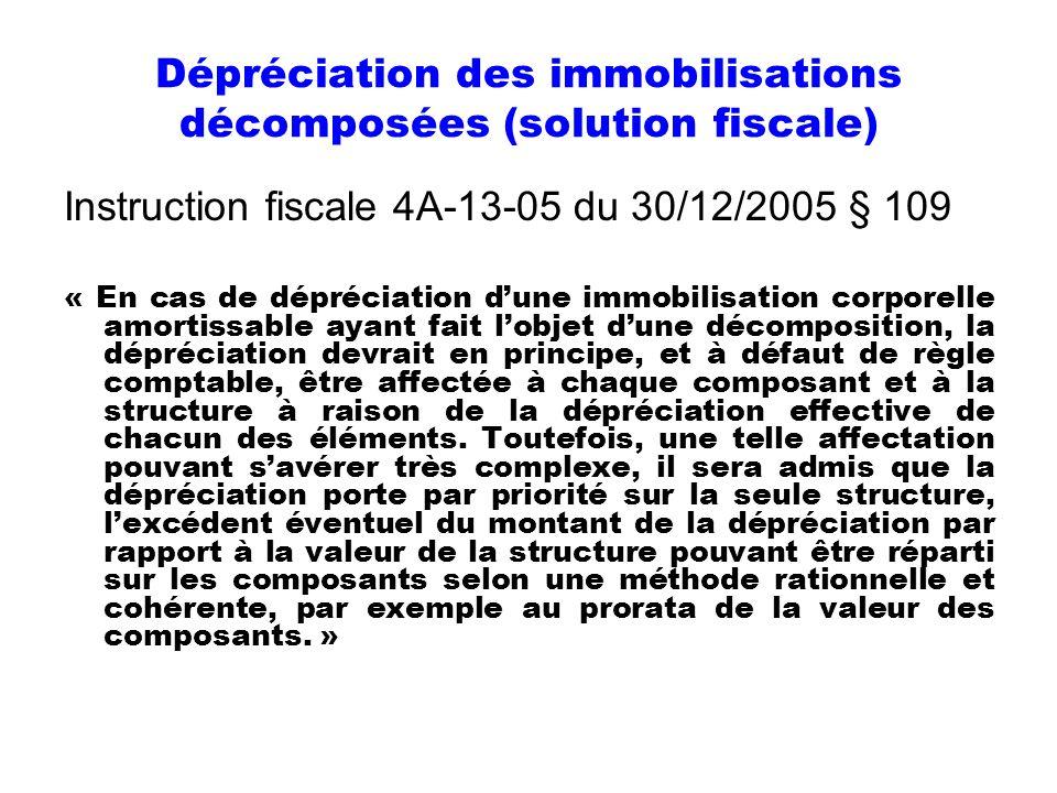 Dépréciation des immobilisations décomposées (solution fiscale)