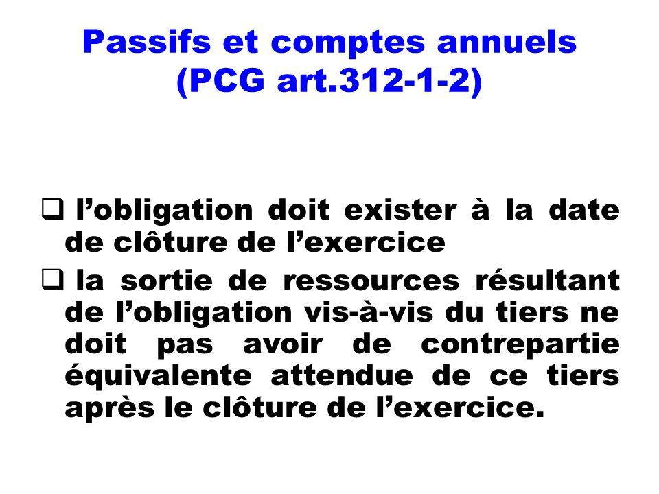 Passifs et comptes annuels (PCG art.312-1-2)