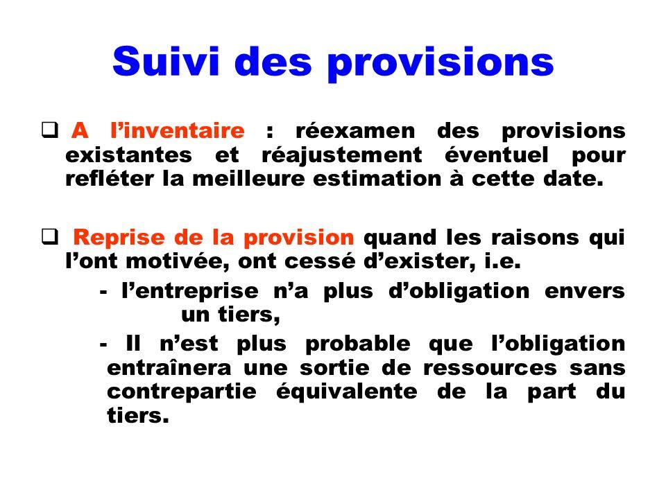Suivi des provisions A l'inventaire : réexamen des provisions existantes et réajustement éventuel pour refléter la meilleure estimation à cette date.