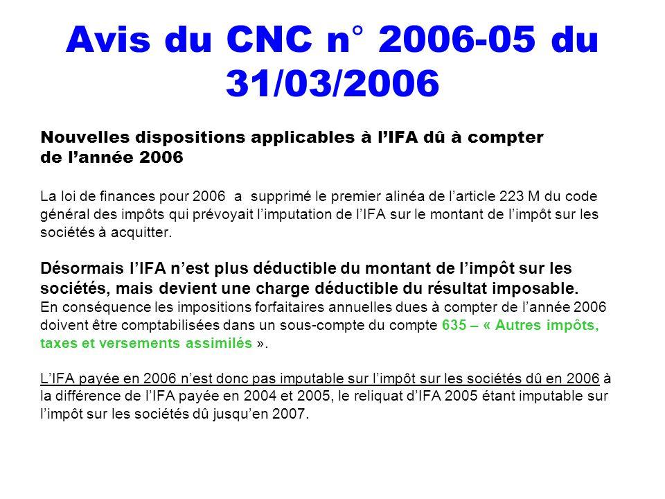 Avis du CNC n° 2006-05 du 31/03/2006 Nouvelles dispositions applicables à l'IFA dû à compter. de l'année 2006.
