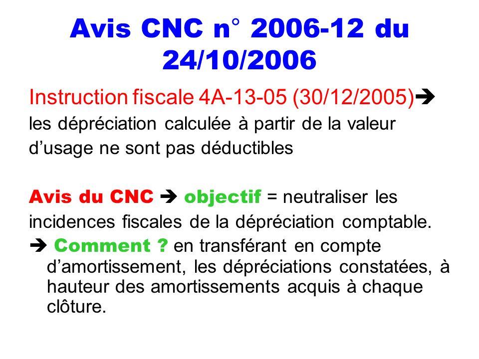Avis CNC n° 2006-12 du 24/10/2006 Instruction fiscale 4A-13-05 (30/12/2005) les dépréciation calculée à partir de la valeur.