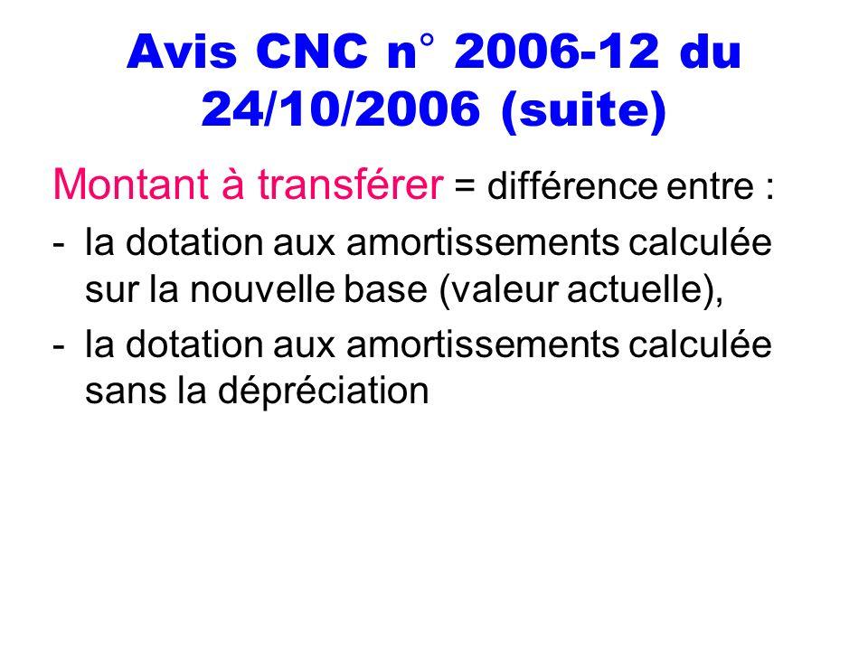 Avis CNC n° 2006-12 du 24/10/2006 (suite)
