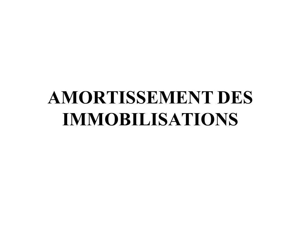 AMORTISSEMENT DES IMMOBILISATIONS