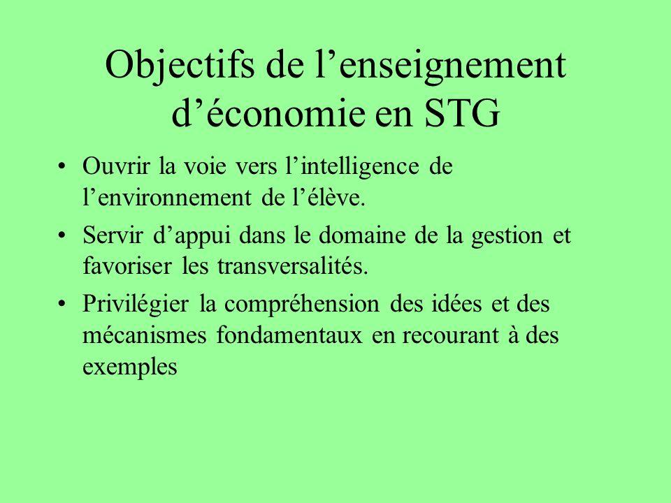 Objectifs de l'enseignement d'économie en STG