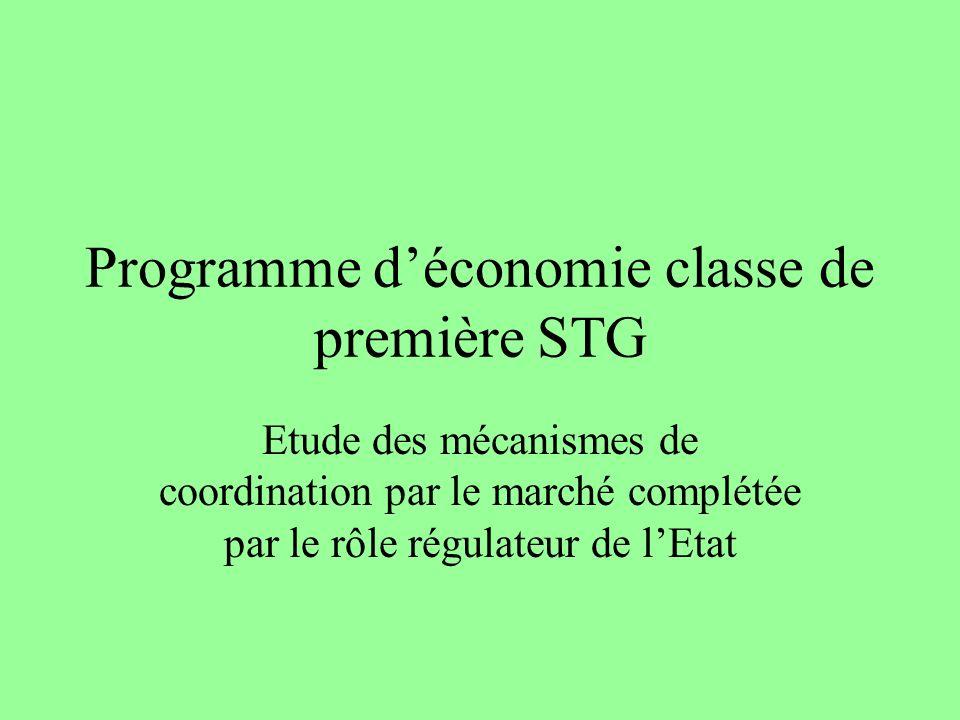 Programme d'économie classe de première STG
