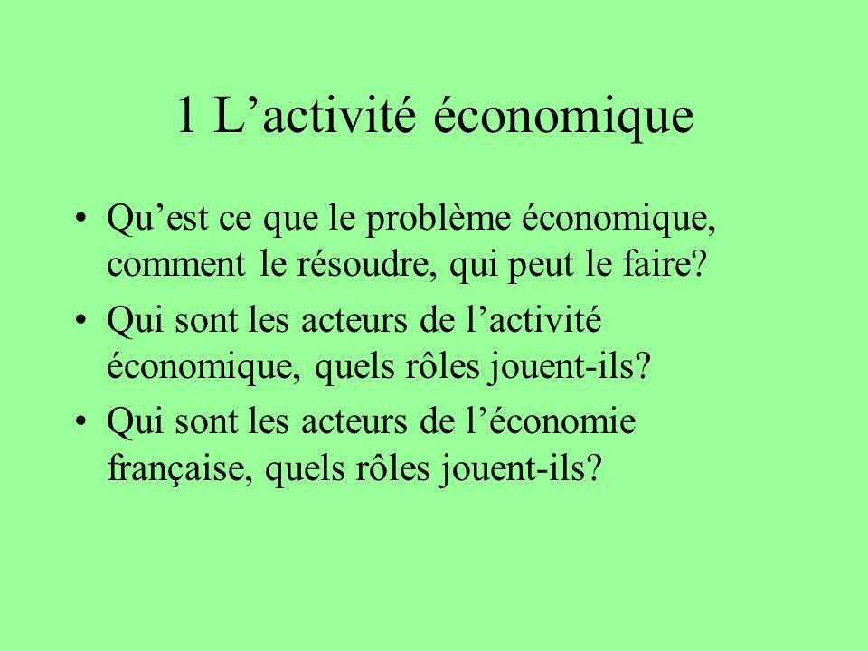 1 L'activité économique