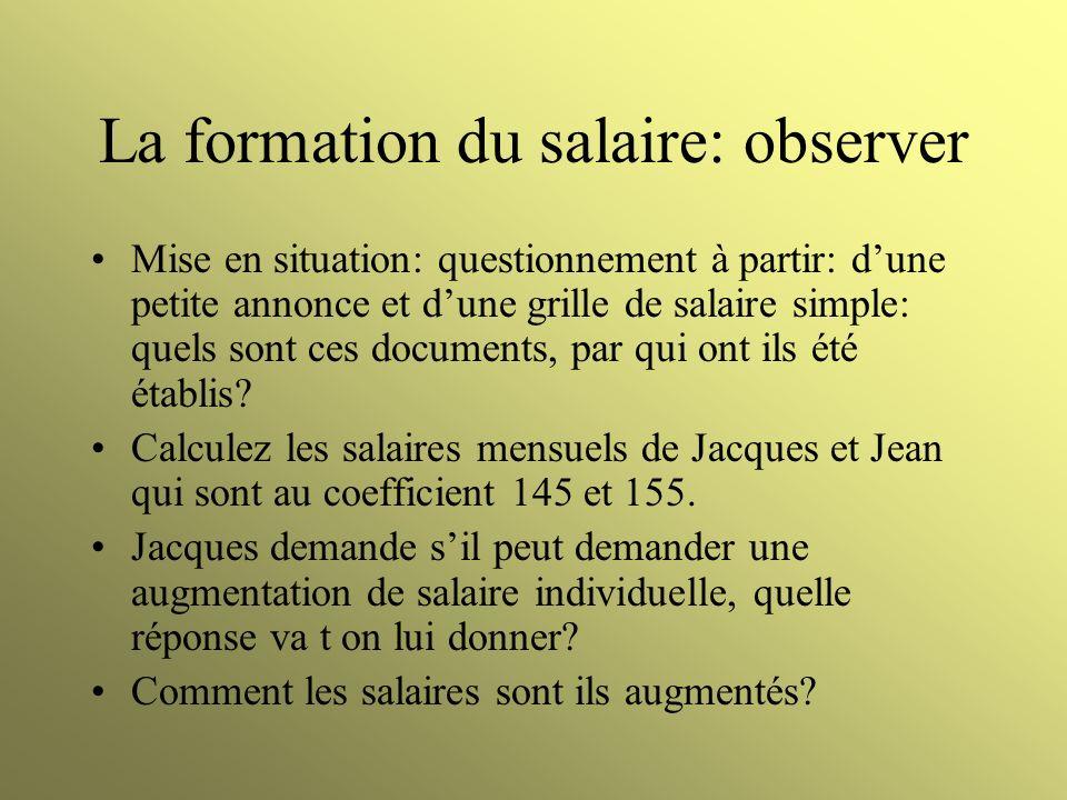 La formation du salaire: observer