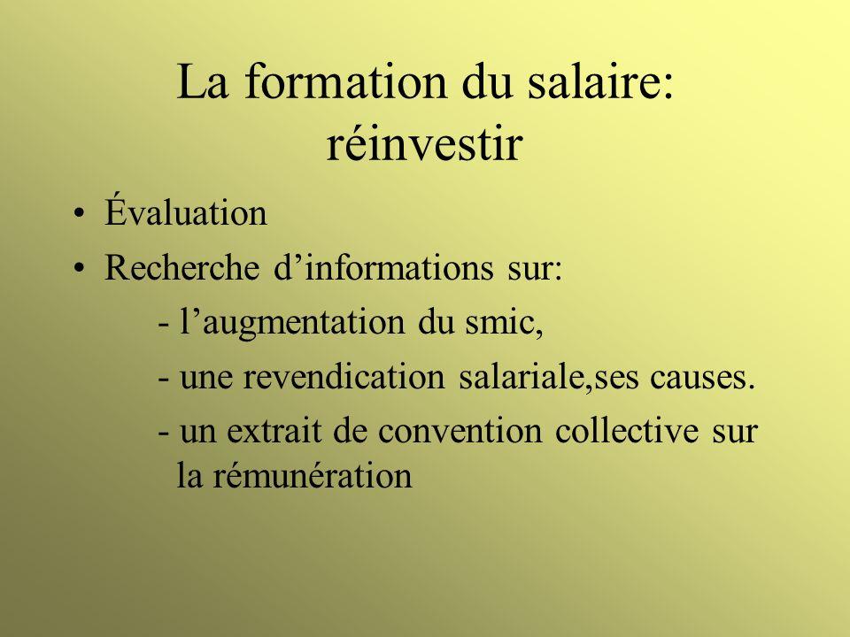 La formation du salaire: réinvestir