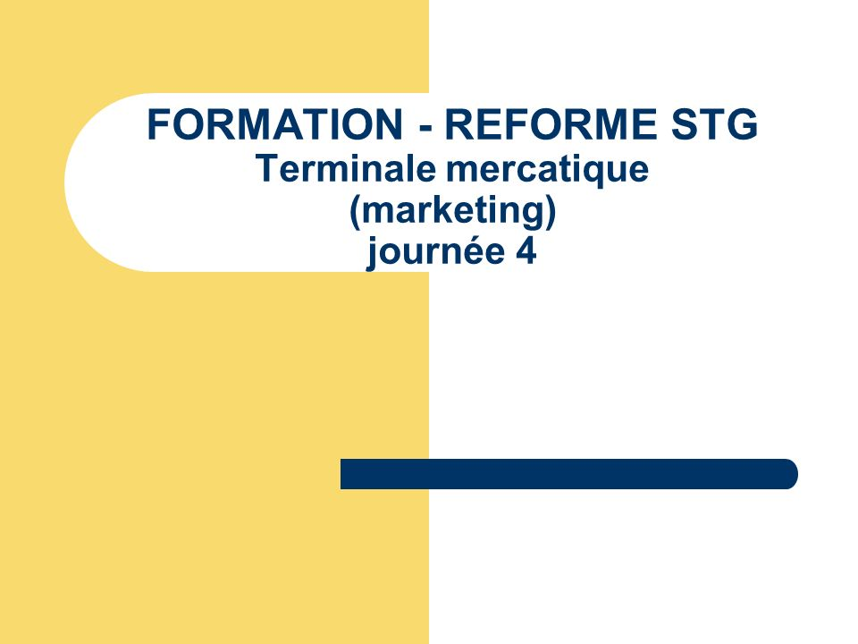 FORMATION - REFORME STG Terminale mercatique (marketing) journée 4