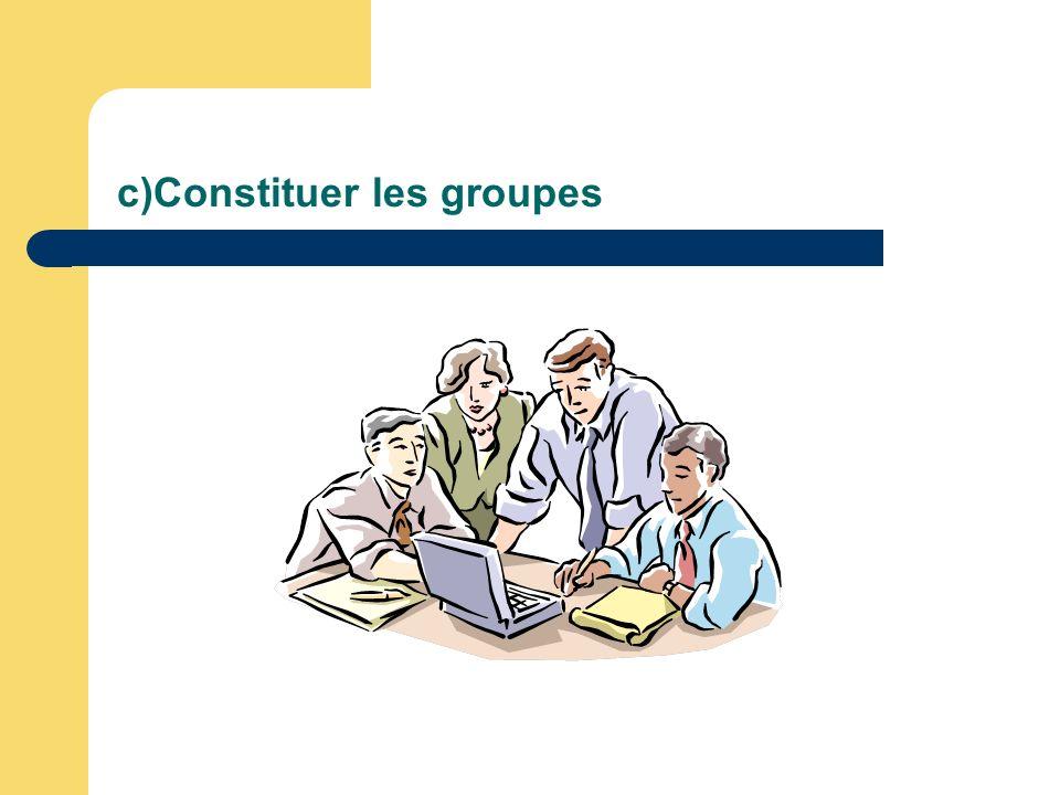 c)Constituer les groupes