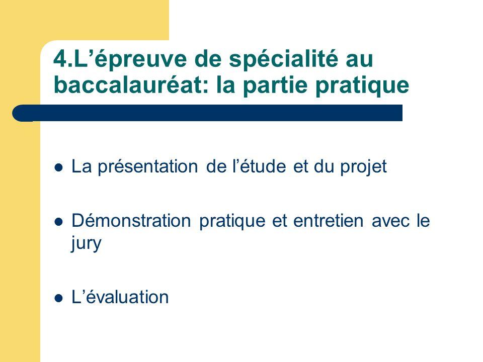 4.L'épreuve de spécialité au baccalauréat: la partie pratique