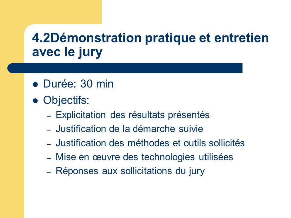 4.2Démonstration pratique et entretien avec le jury