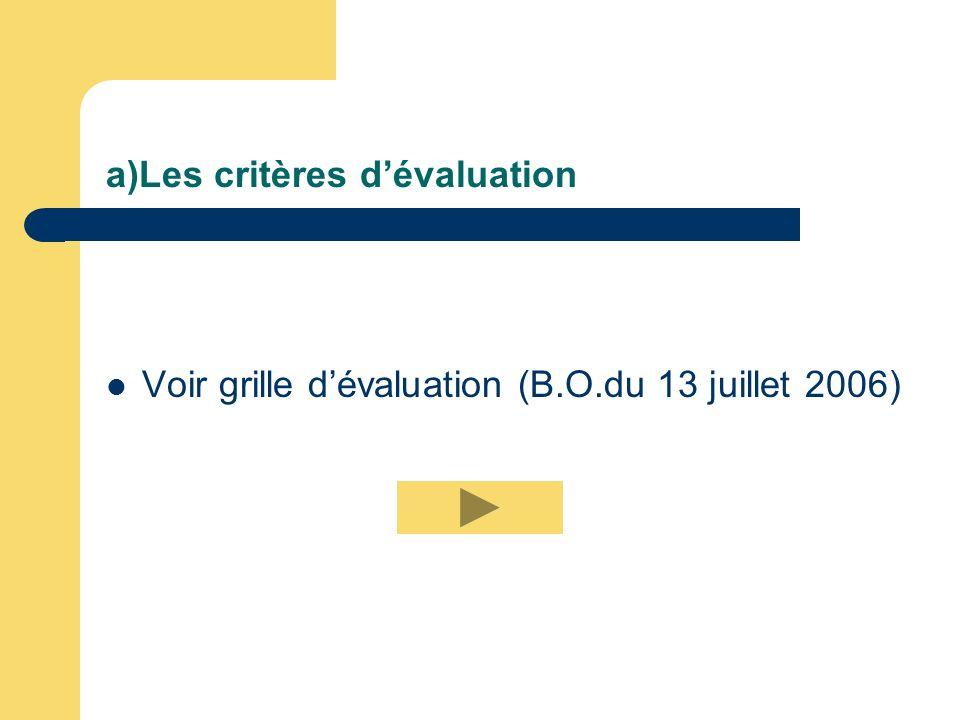 a)Les critères d'évaluation