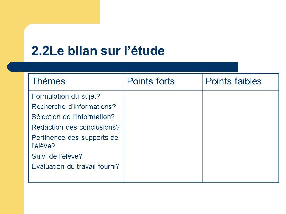 2.2Le bilan sur l'étude Thèmes Points forts Points faibles