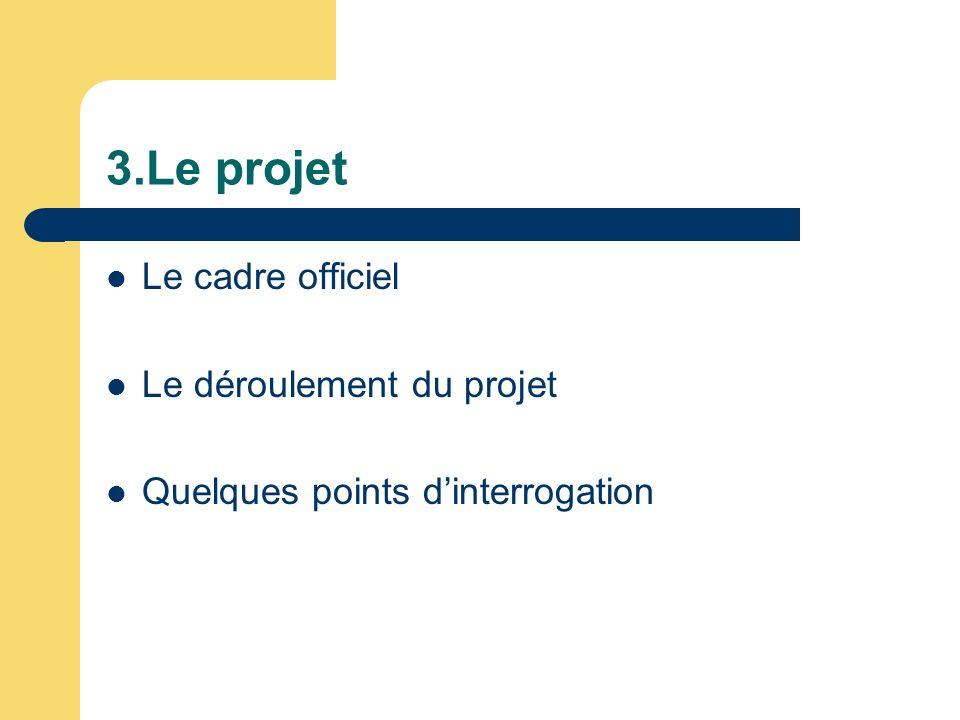 3.Le projet Le cadre officiel Le déroulement du projet