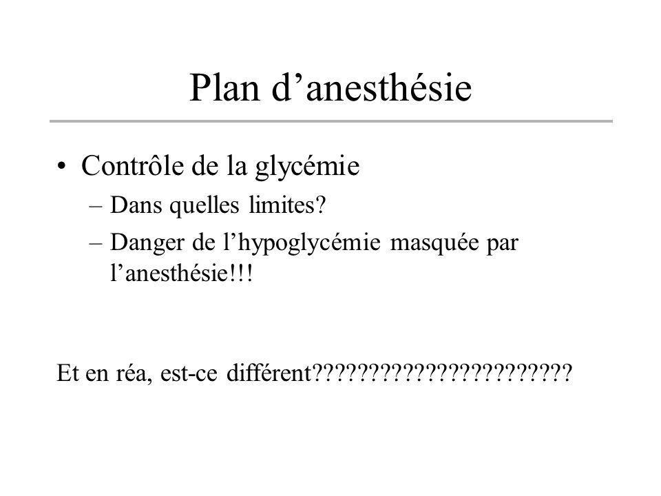 Plan d'anesthésie Contrôle de la glycémie Dans quelles limites
