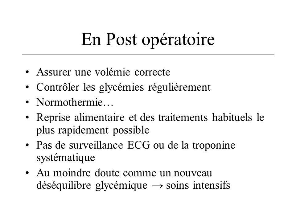 En Post opératoire Assurer une volémie correcte