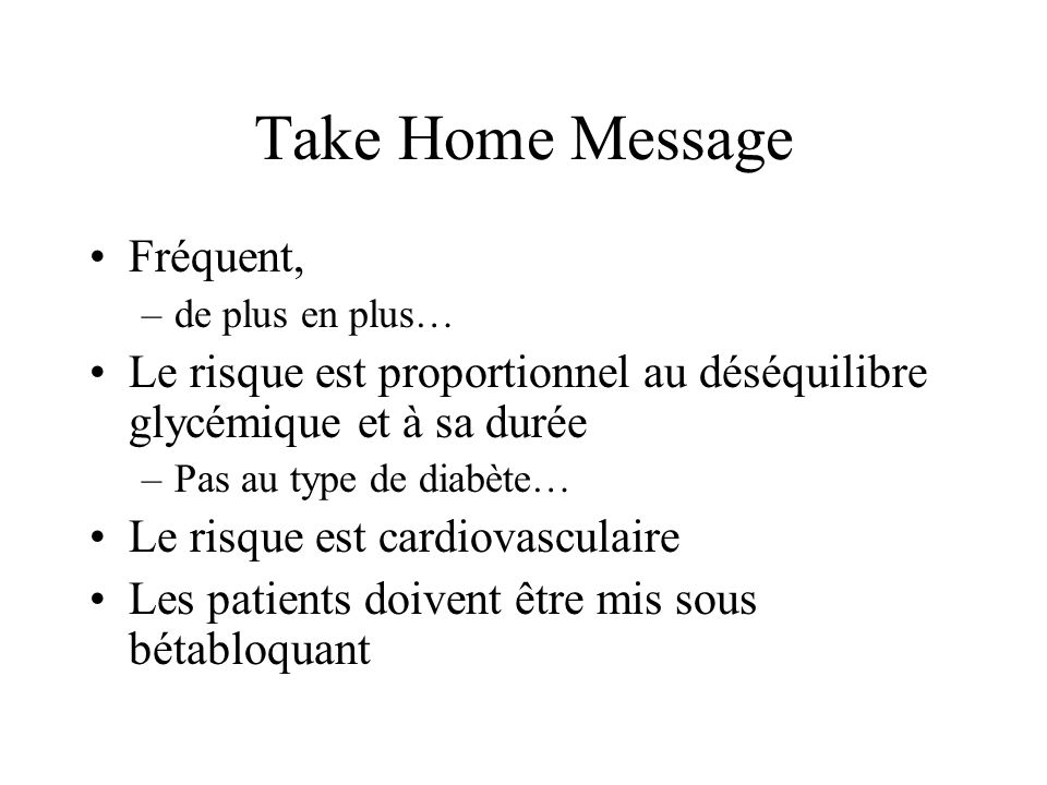 Take Home Message Fréquent,