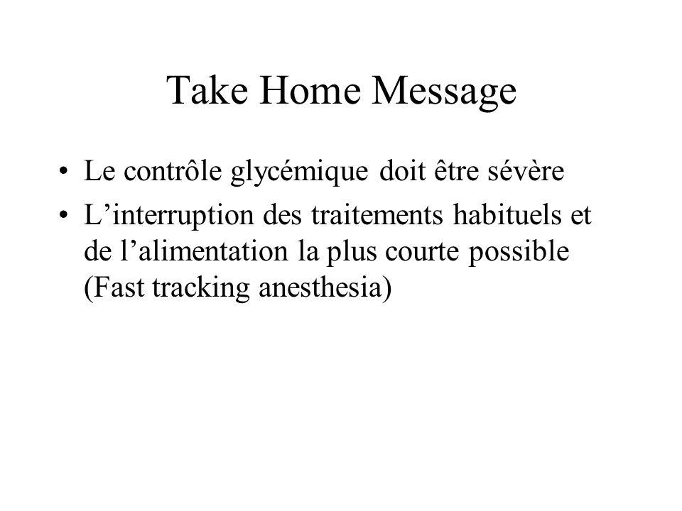 Take Home Message Le contrôle glycémique doit être sévère