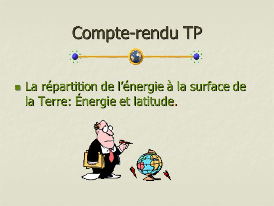 Compte-rendu TP La répartition de l'énergie à la surface de la Terre: Énergie et latitude.
