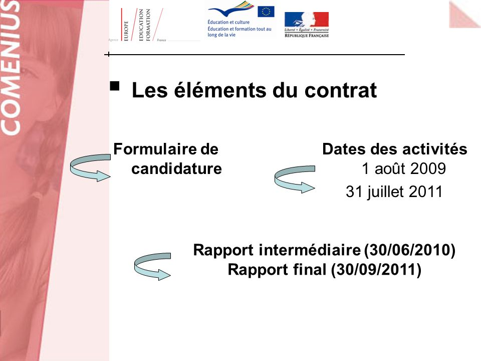 Les éléments du contrat Rapport intermédiaire (30/06/2010)