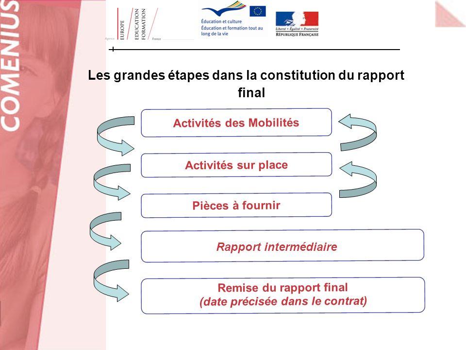 Les grandes étapes dans la constitution du rapport final