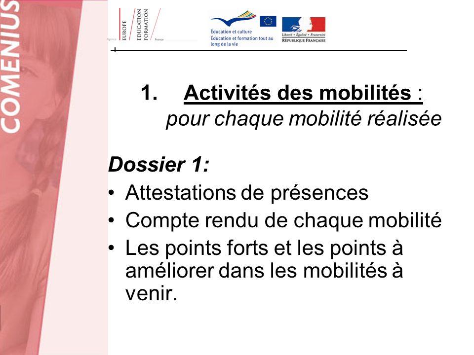 Activités des mobilités : pour chaque mobilité réalisée