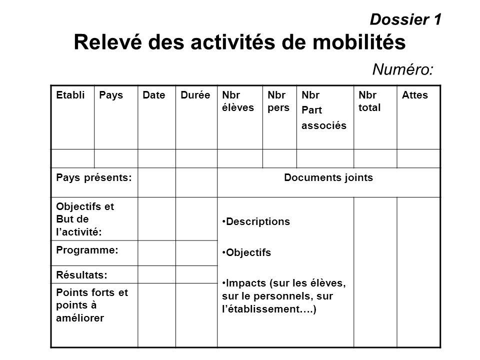 Dossier 1 Relevé des activités de mobilités Numéro: