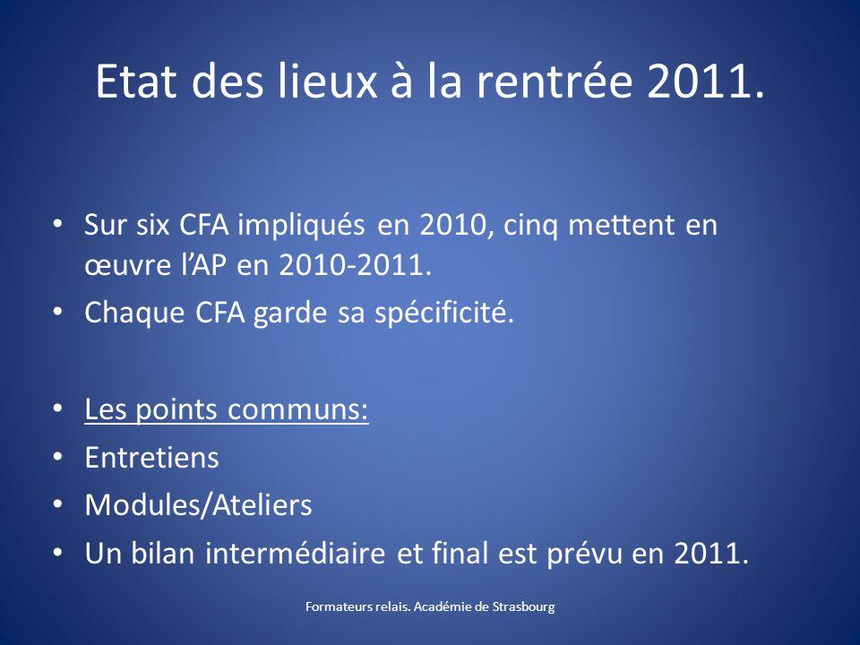 Etat des lieux à la rentrée 2011.