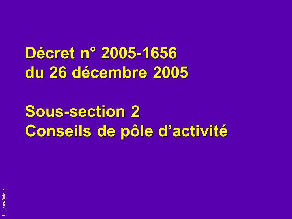 Décret n° 2005-1656 du 26 décembre 2005 Sous-section 2 Conseils de pôle d'activité