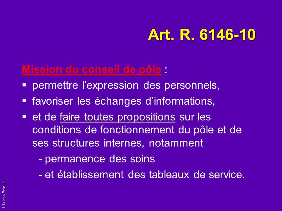 Art. R. 6146-10 Mission du conseil de pôle :