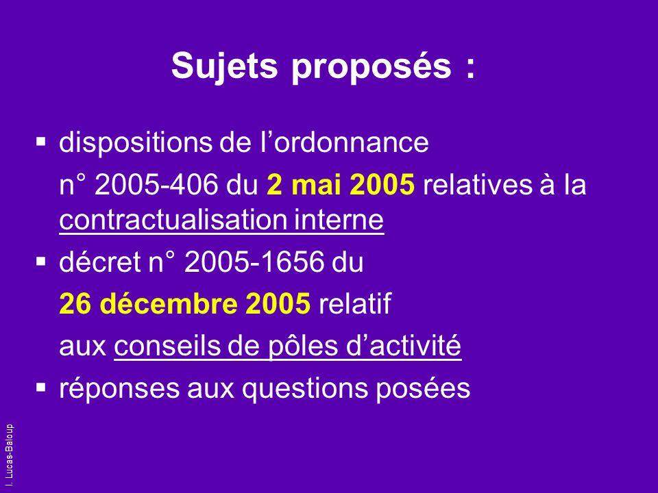 Sujets proposés : dispositions de l'ordonnance
