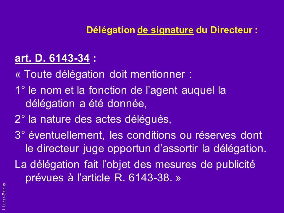 Délégation de signature du Directeur :