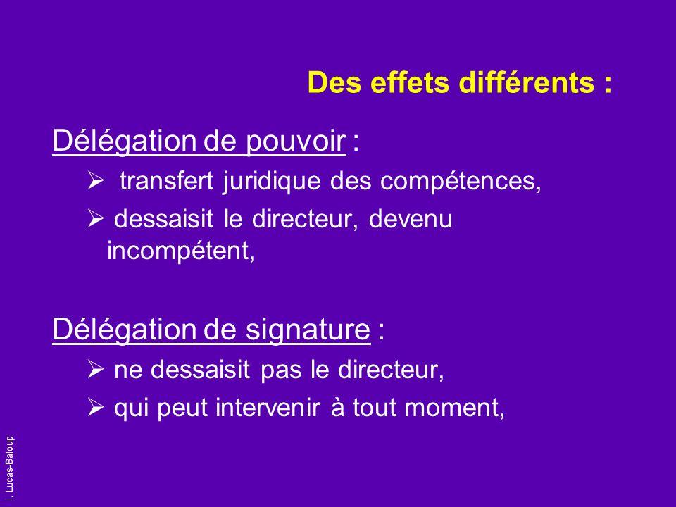 Des effets différents :