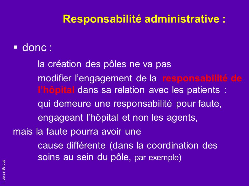 Responsabilité administrative :