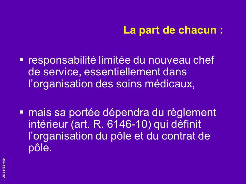 La part de chacun :responsabilité limitée du nouveau chef de service, essentiellement dans l'organisation des soins médicaux,
