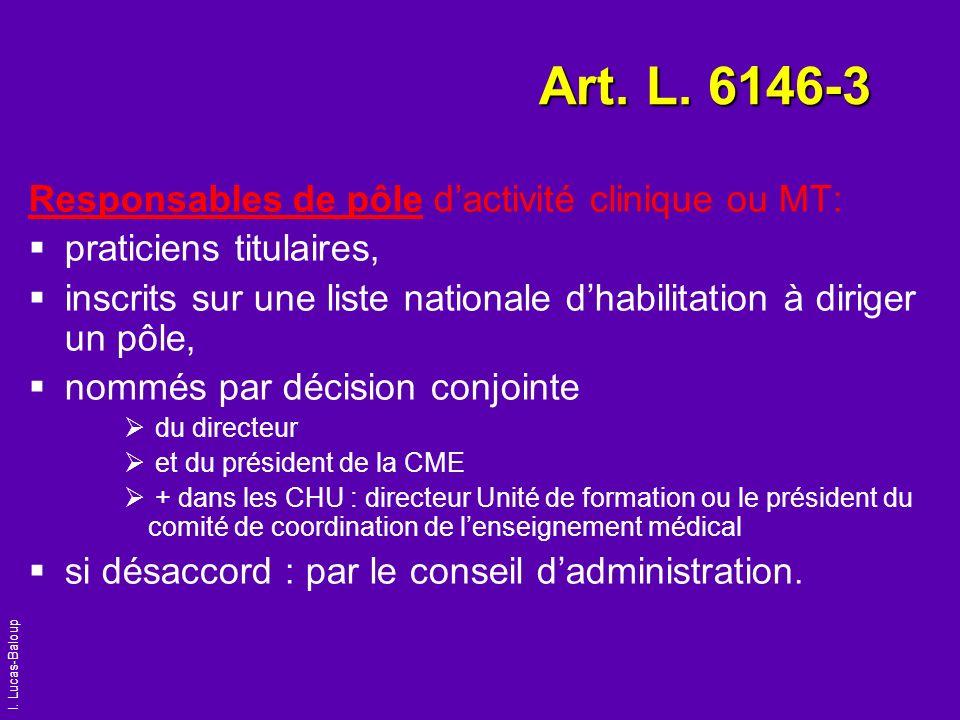 Art. L. 6146-3 Responsables de pôle d'activité clinique ou MT: