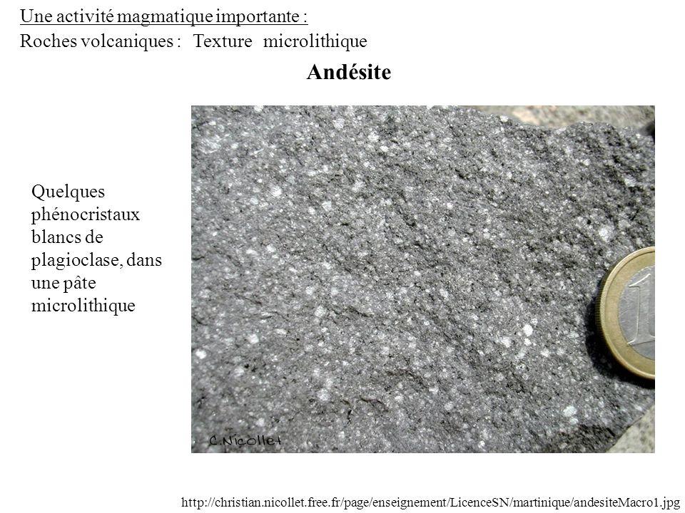 Andésite Une activité magmatique importante : Roches volcaniques :