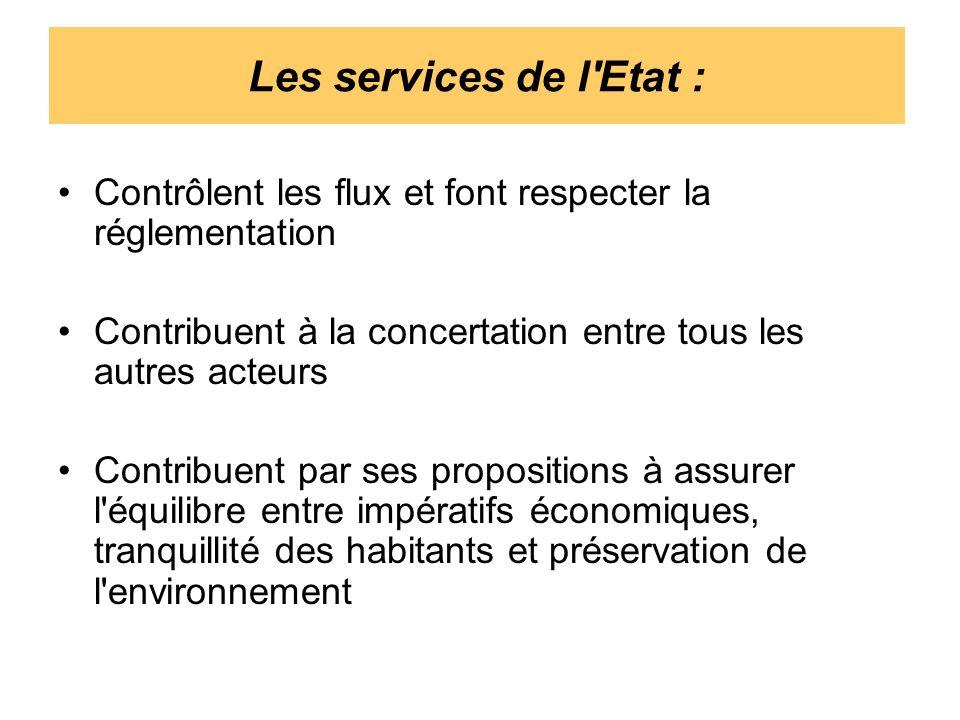 Les services de l Etat : Contrôlent les flux et font respecter la réglementation. Contribuent à la concertation entre tous les autres acteurs.