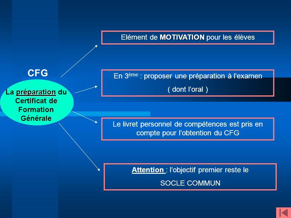La préparation du Certificat de Formation Générale