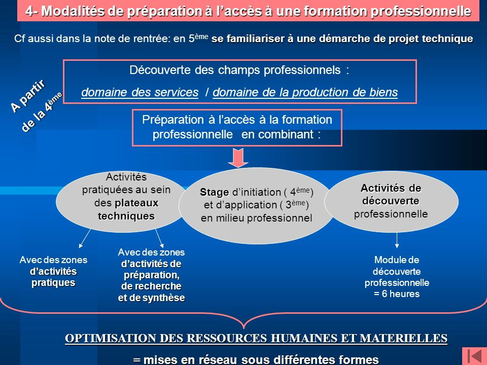 4- Modalités de préparation à l'accès à une formation professionnelle