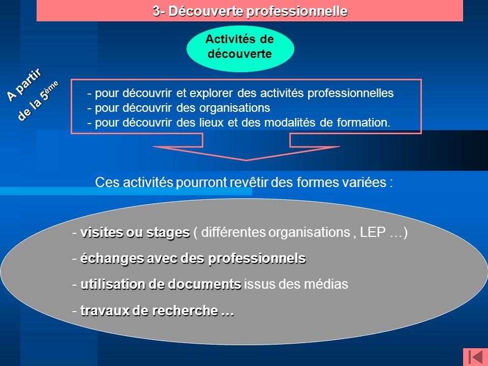 3- Découverte professionnelle Activités de découverte