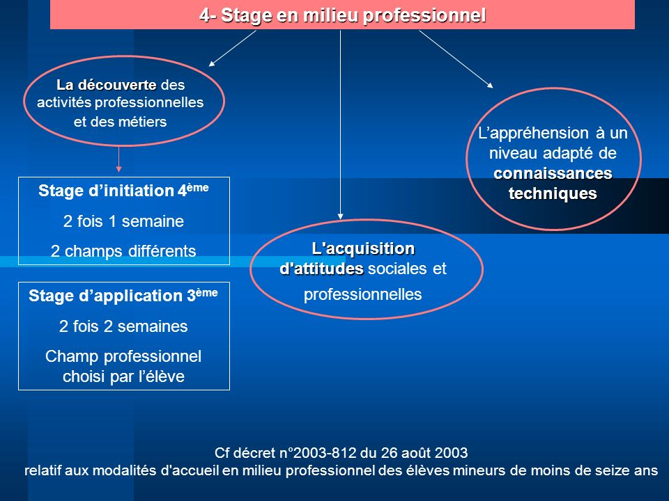 4- Stage en milieu professionnel Stage d'application 3ème