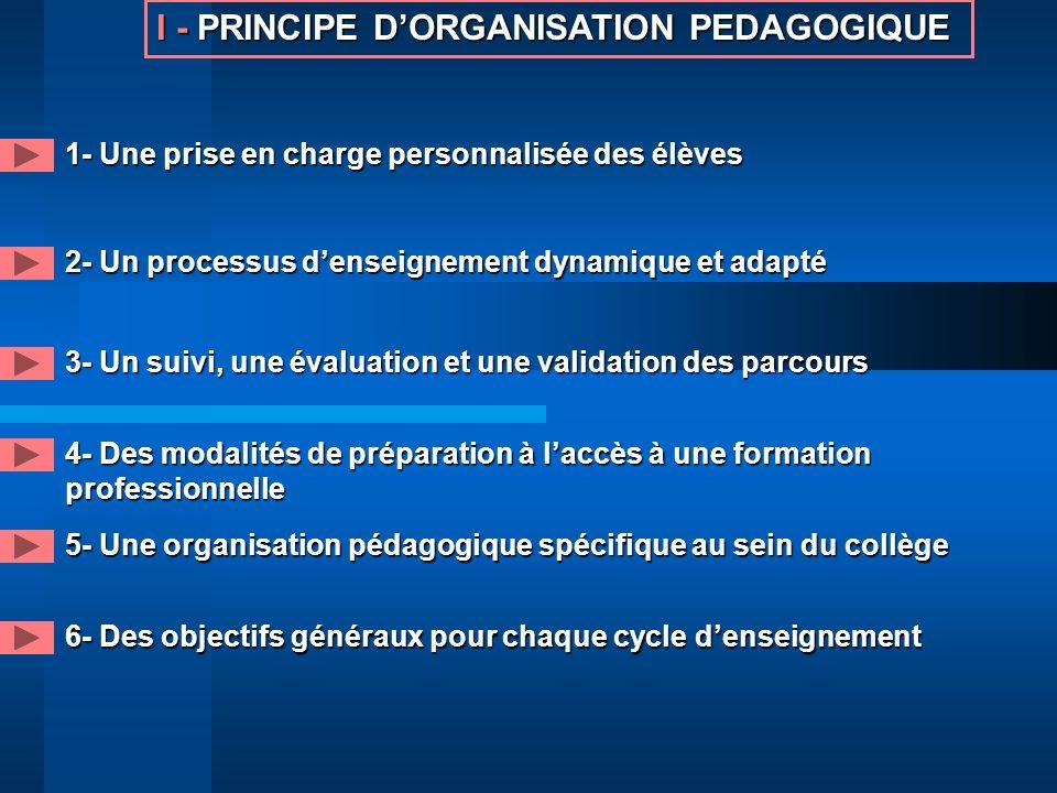 I - PRINCIPE D'ORGANISATION PEDAGOGIQUE