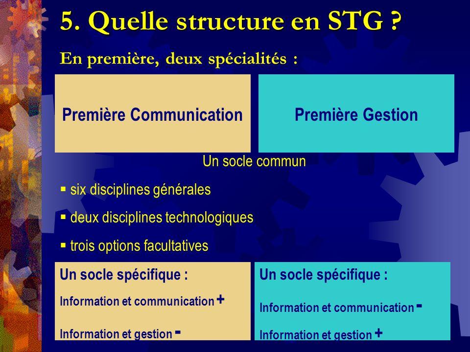 5. Quelle structure en STG En première, deux spécialités :