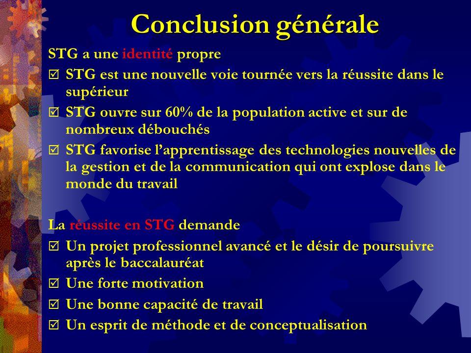 Conclusion générale STG a une identité propre