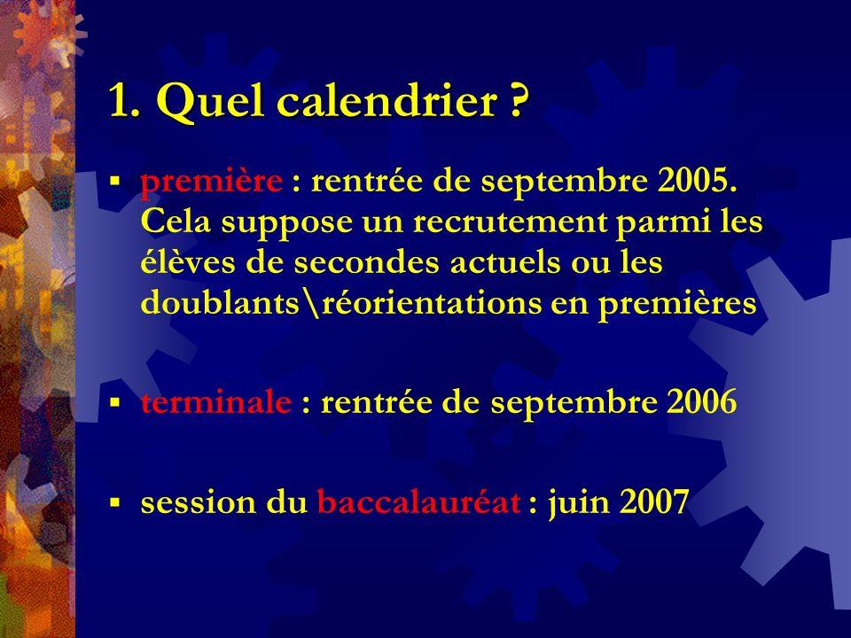 1. Quel calendrier