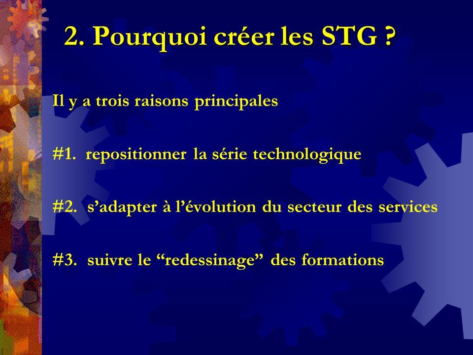 2. Pourquoi créer les STG Il y a trois raisons principales