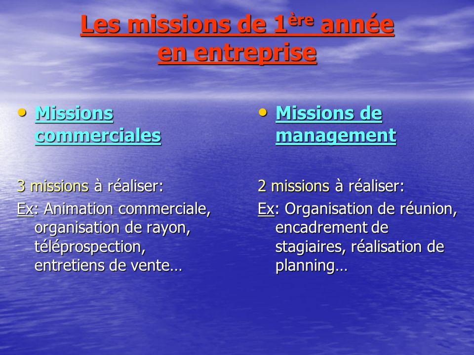 Les missions de 1ère année en entreprise